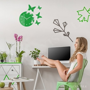 Große moderne Wanduhr Schmetterling Grau rund 30cm, 3d DIY, Wohnzimmer, Schlafzimmer, Kinderzimmer - 5