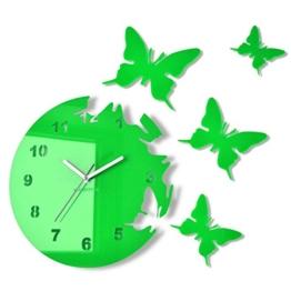 Große moderne Wanduhr Schmetterling Grün rund 30cm, 3d DIY, Wohnzimmer, Schlafzimmer, Kinderzimmer - 1