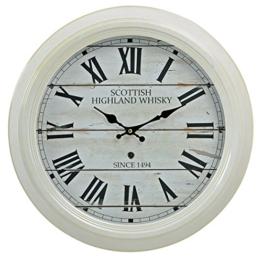 Großuhr Wanduhr XXL 47cm aus Metall in weiß - Motiv: Scottish Highland Whisky römische Ziffern - Kolonialstil Nostalgie Bahnhofsuhr Metalluhr Uhr - 1