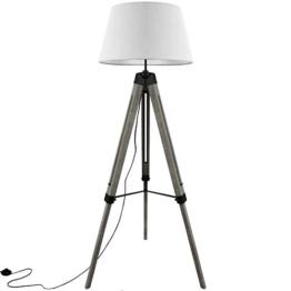 Grundig Tripod Stehlampe mit Textilschirm E27 40W H100-150cm in 3 Farben Stehleuchte Stativlampe Stativleuchte, Farbe:Weiß - 1