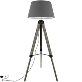 Grundig Tripod Stehlampe mit Textilschirm E27 40W H100-150cm in 3 Farben Stehleuchte Stativlampe Stativleuchte, Farbe:Grau - 1