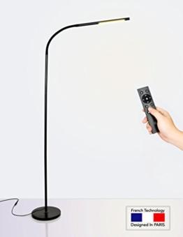 HaloOptronics - Rocket 1933 Pro - LED Stehleuchte mit Fernbedienung 10W entspricht 100W - Touch Variation von Helligkeit und Farbe. LED Lampe / Wohnzimmer Lampe / Schlafzimmer Lampe / Leselampe / Design Lampe. Alles Aluminium. Multi-Position Rotary 360 °, Mehrfachnutzung, variable Höhe. Französische Marke / 3 Jahre Garantie Lager und Kundendienst in FRANKREICH. Schwarz - 1