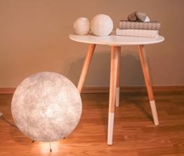Handgearbeitete Kugellampe aus Baumwolle mit einem Durchmesser von 30cm, inkl. LED Glühbirne - grau innen - 1