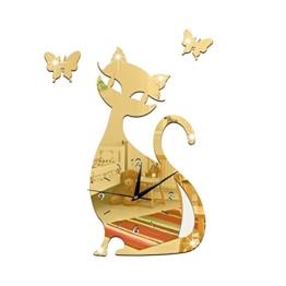 Haodasi Mode Katze Muster Wanduhr Schwarz Quarz Schlafzimmer Wohnzimmer Dekor wc147 Gold Spiegel - 1