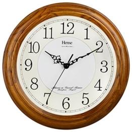 HENSE 13 Zoll große massive Platane Holz Wanduhr Wohnzimmer Moderne Uhr Stumm Einfache Quarzuhr mit großen arabischen Ziffern und feine Textur HW13 (HW13 #C Hellbraun) - 1