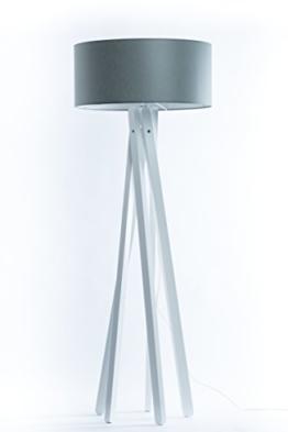 Hochwertige Design Stativ Stehlampe | Studiolampe mit Stoffschirm aus Chintz in grau und Stativ/Gestell aus Holz Echtholz Weiß | H= 160cm | Stehleuchte | Handgefertigte Leuchte - 1