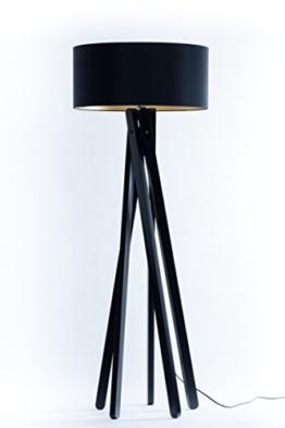 Hochwertige Design Stativ Stehlampe | Studiolampe mit Stoffschirm aus Chintz in schwarz gold und Stativ/Gestell aus Holz Echtholz Schwarz | H= 160cm | Stehleuchte | Handgefertigte Leuchte - 1