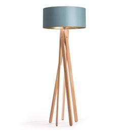 Hochwertige Design Stehlampe Tripod mit Textil Schirm aus Chintz in grau gold und Stativ/Gestell aus Holz Echtholz (Buche) | H= 160cm | Stehleuchte | Natur | Handgefertigte Leuchte - 1