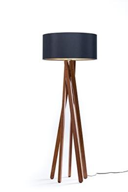 Hochwertige Design Stehlampe Tripod mit Textil Schirm aus Chintz in Schwarz Gold und Stativ/Gestell aus dunklem Holz Echtholz Nussbaum | H= 160cm | Stehleuchte | Handgefertigte Leuchte - 1