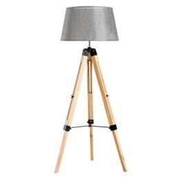 Homcom® Stehlampe Stehleuchte Standleuchte höhenverstellbar E27, Kiefer+Polyester, 65x65x99-143cm (Grau) - 1