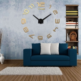 HOME IMPRESSION (Multi-Stil) Modern 3D-Frameless große wanduhren, Zimmer 60-130cm Durchmesser Große dekorative Wanduhren xxl Home Decor DIY Uhren Wohn (A B 1 Most Popular, #4 Black dial, gold acrylic mirror) - 1