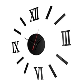 Homyl Wand Uhr Wohnzimmer Wanduhr Wandtattoo Aufkleber Deko 3D-Design mit Romanischen Nummer - Schwarz - 1