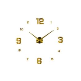 Homyl Wand Uhr Wohnzimmer Wanduhr Wandtattoo Aufkleber Deko XXL 3D-Design, Farbwahl - Gold #1 - 1