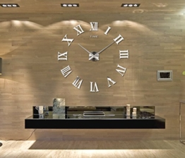 Horleora DIY Wanduhr ohne tickgeräusche 3D Modern Design Acryl Spiegel Metall Rahmenlose Wandaufkleber groß Uhren Style Raum Home Dekorationen Tolles Geschenk - Digital - 1