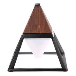 Jeteven Tischlampe Stehlampe für draußen und drinnen,3 Farbenwechsel & Micro USB Kabel aufladen,(Pyramide groß (15,1x15,1x16,5cm)) Dunkel Holz - 1