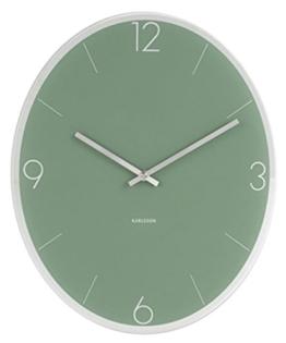 Karlsson KA5650GR Wanduhr - ovale Form - Zifferblatt grün - Spiegelrand 39 x 32 cm - 1