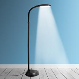 Kenley Stehlampe Leselampe 12W LED Dimmbar - Modern Deckenfluter Standleuchte Standlampe Stehleuchte Energiesparend Tageslichtlampe für Schlafzimmer Oder Wohnzimmer - Flexibler Hals - Weiß Tageslicht - 1