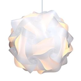kwmobile DIY Puzzle Lampe XL Lampenschirm - Schirm Teile Set mit Netzkabel Schalter E27 Fassung - Puzzlelampe Stehlampe Deckenleuchte in Weiß - 1