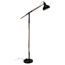 Lagerräumung! Stehlampe Standleuchte Holz Metall E14 40W H150cm Schwarz / Natur - Bürolampe Schreibtischlampe Leselampe Standlampe Stehleuchte - 1