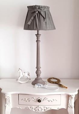 Lampe Tischlampe Stehlampe Nachttischlampe Holzlampe mit Stoffschirm XL 73cm groß Grau - 1