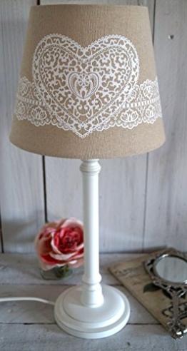 Lampe Tischlampe Stehlampe Nachttischlampe Shabby Chic Landhausstil Leuchte grau weiß XL 40cm - 50cm groß (Natur Herz) - 1