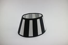 Lampenschirm-oval schwarz-weiss-gestreift konische Form Ø 25cm (15*25*16cm) - 1