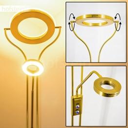 LED Deckenfluter Donna - Wohnzimmer Stehlampe aus Messing mit 2070 Lumen - LED Fluter mit warmweißem Licht für Wohnzimmer, Flur, Esszimmer, Schlafzimmer - Stehlampe Gold - 1