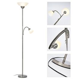 LED Deckenfluter Kira 1.100 Lumen (14W) mit Lesearm 380 Lumen (4,5W) dimmbar - eisen/weiß - 1