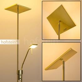 LED Stehlampe Agello - Deckenfluter in Messing mit 1620 Lumen - Stehleuchte LED Wohnzimmer mit Leselampe - Dimmbare Standleuchte mit warmweißem Licht für Gemütlichkeit in Ihren Räumen - 1