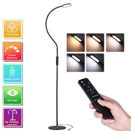 LED Stehlampe, AVAWAY Dimmbare LED Standlampe Stehleuchte Leselampe Flexible Standleuchte Bodenlampe mit Schwanenhals für Wohnzimmer Schlafzimmer Büro, Touch & Fernbedingung Steuerung, 5 Farbtemperature und 5 Helligkeitsstufen – 3000K-6500K (Schwarz) - 1
