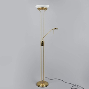 """LED Stehlampe """"Denise"""" dimmbar (Modern) in Messing aus Metall u.a. für Wohnzimmer & Esszimmer (1 flammig, A+) von Lampenwelt   Stehleuchte, Deckenfluter, LED-Deckenfluter - 4"""