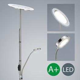 LED Stehlampe inkl LED Platine 230V IP20 20W LED Stehleuchte modern Deckenfluter mit Leselampe LED Standleuchte warmweiss Metall-Glas matt nickel 2000lm 21 Watt schwenkbar Wohnzimmer - 1