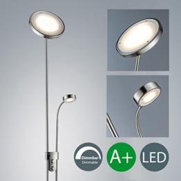 LED Stehlampe inkl LED Platine 230V IP20 21W LED Stehleuchte modern Deckenfluter mit Leselampe LED Standleuchte mit Drehschalter warmweiss Metall-Glas matt nickel 2000lm 21 Watt schwenkbar Wohnzimmer - 1