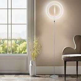 LED Stehleuchte - Wayking Stehlampe mit doppelringem Licht, helles und futuristisches Ambiente- stilvolle und dimmbare Halo Leuchtmittel mit warmweiß Licht für Büro, Wohnzimmer, Schlafzimmer, Arbeitszimmer, - Silber - 1