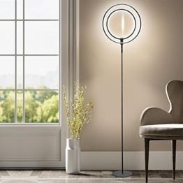 LED Stehleuchte - Wayking Stehlampe mit Doppelringen Licht, helles und futuristisches Ambiente- stilvolle und dimmbare Halo Leuchtmittel mit warmweiß Licht für Büro, Wohnzimmer, Schlafzimmer, Arbeitszimmer, - Schwarz - 1