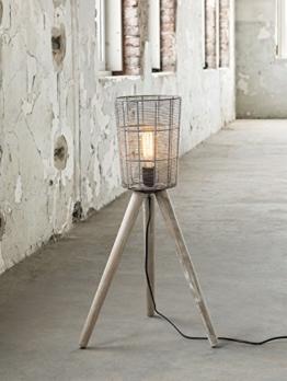LEVI Stehlampe klein schmal mit Korb Holzbeine - 1