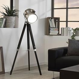 Licht-Trend Gazer Dreibein-Stehleuchte Holz & Chrom schwarz Stehlampe - 1
