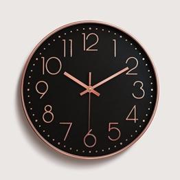 LOSTRYY Wohnzimmer Tabelle Schlafzimmer sehen Mute Individualität Creative Clock Circle Clock 30 cm, Rose Gold Schwarz Bottom - 1