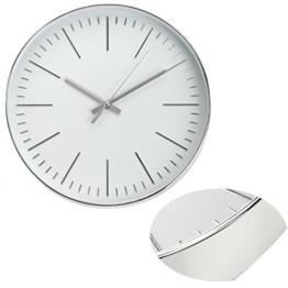 LS Design Nostalgische Metall Wanduhr Küchenuhr Bürouhr Silber Ziffer - 1