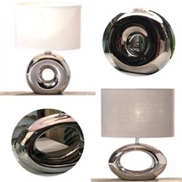 LS-LebenStil Design Tischleuchte Tischlampe Büroleuchte Schreibtischlampe Keramik Kugel oval Napoli Silber Grau 33cm - 1