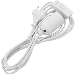 Lumaro E27 Lampenfassung mit Schalter und Netzkabel | Lampensockel mit Kabel Fassung Adapter Sockel weiß - 1
