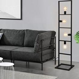 [lux.pro]® Stehleuchte - 142,5 cm - design stylisch schawrz metall home dekoration - 1