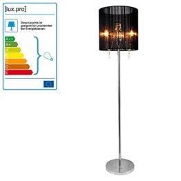 [lux.pro] Stehleuchte -Fabrica- (3 x E 14 Sockel) (167 cm x Ø 40 cm) (schwarz) + Kristallbehang Stehlampe Zimmerlampe Wohnzimmerlampe - 1