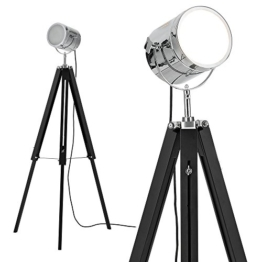 [lux.pro] Stehleuchte Tripod (1 x E27 Sockel)(64cm - 140cm) Industrial Design Dreifuss Dreibein Tripod Teleskop Chrom Stehlampe Leuchte - 1