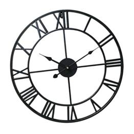 MagiDeal Holz Wanduhr XXL Uhr 80 cm Ø Standuhr mit Römische Ziffern Holzwanduhr - Schwarz - 1