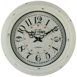 Metall antik Wanduhr weiß Oldtown Clocks 43cm - 1