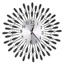 Metall Wanduhr 3D Diamanten Blume Nicht-Ticking Stille Blendung Uhr LuckyGirls (Schwarz) - 1