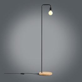 Minimalistische LED Holz Stehlampe, Retro Industrie Büro Schlafzimmer Wohnzimmer Stehlampe Einfache Eisen Studie Leselicht, Schwarz, Rot Bronze ( Color : Black ) - 1