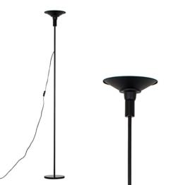 MiniSun – Einfacher und moderner Deckenfluter mit einer integrierten und warmweißen 24w LED-Leuchte und einem schwarzen Finish – Stehlampe - 1