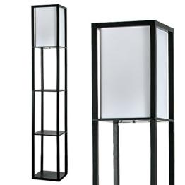 MiniSun – Moderne und schwarze Stehlampe aus Holz und weißem Gewebe mit eingebauten Regalen im skandinavischen Stil – Stehlampe mit Regalen - 1